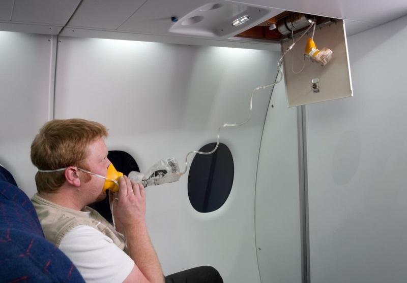 Использование кислородной маски в самолете