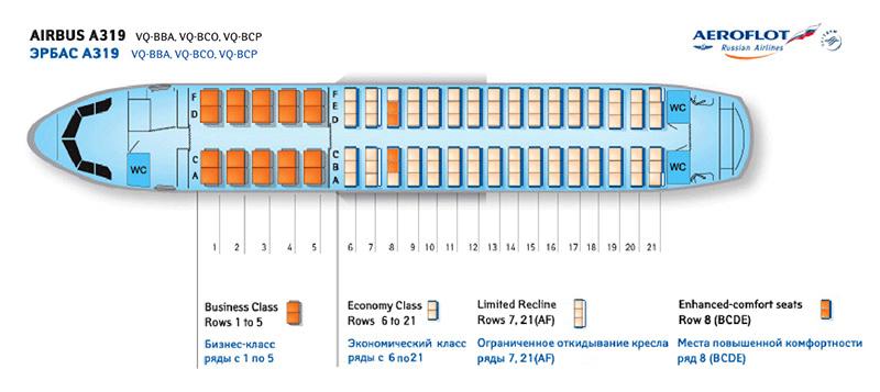 Airbus a319 Аэрофлот схема салона лучшие места
