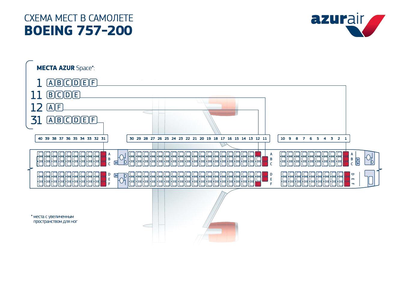 Азур эйр лучшие места в самолете Боинг 757-200