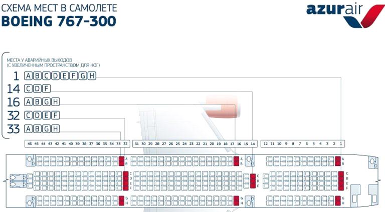 Боинг 767-300 Azur air  схема салона