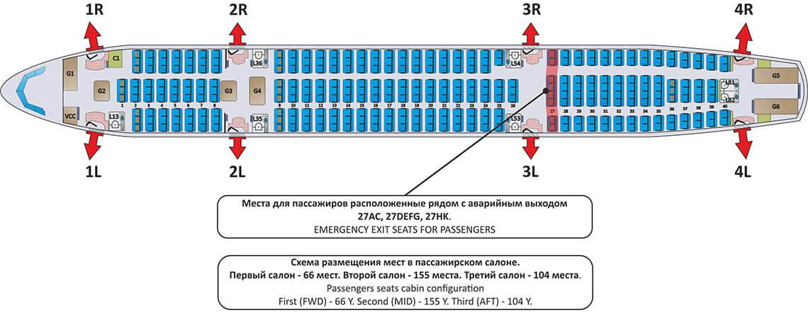 Схема салона эконом класса в А330-300 Ай Флай (325 мест)
