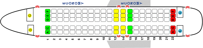 Схема одноклассной компоновки салона Суперджет 100 Ямал