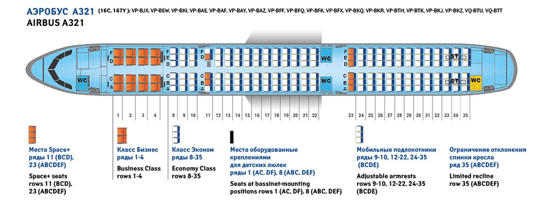 Схема салона Аэробуса А321 Атлас Глобал