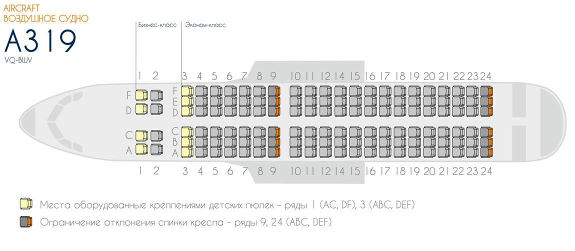 Схема салона лайнера А319 Aurora