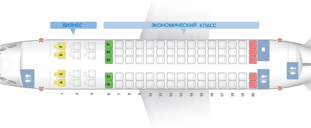 Схема салона лайнера SuperJet 100-95