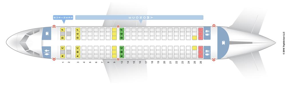 Салон Аэробуса 319 на 156 посадочных мест