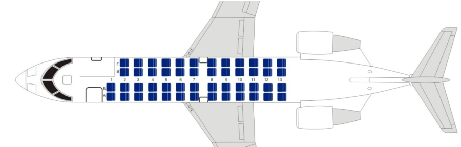 Компоновка мест в салоне Bombardier CRJ-100/200 Белавиа