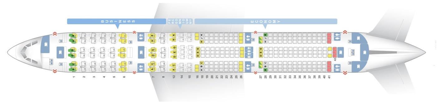 Схема салона самолета А350-900