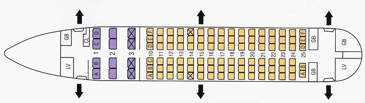 Схема салона Боинг 737-200
