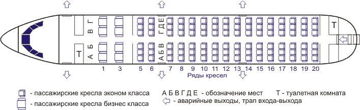 Схема салона ЯК-42 Ижавиа