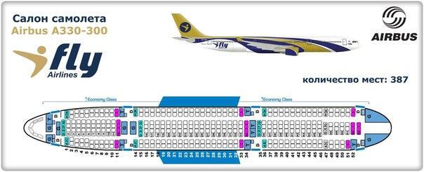 Схема салона самолета А330-300 Ай Флай