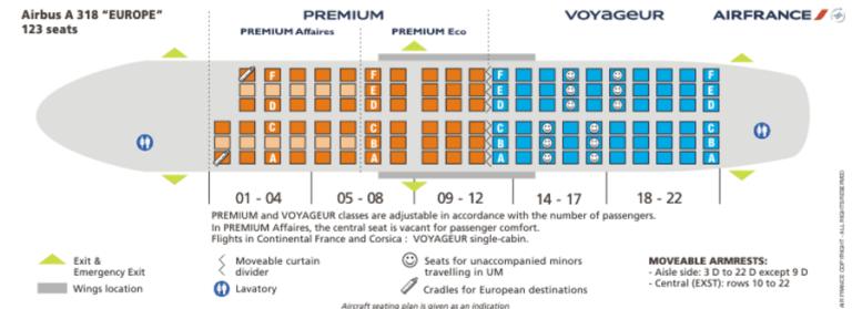 Схема салона самолета Аэробус 318