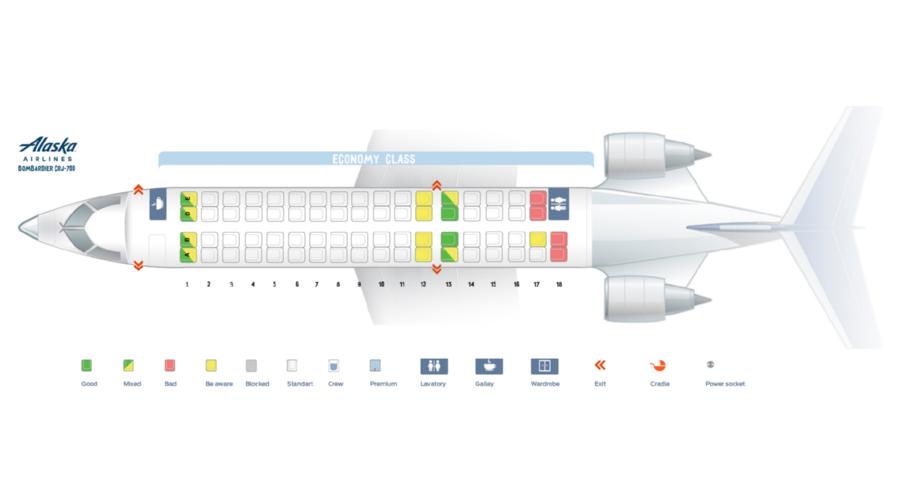 Схема одноклассового салона Bombardier CRJ-700