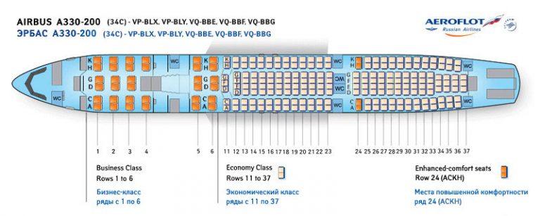 Схема пассажирского салона А330-200 Аэрофлот