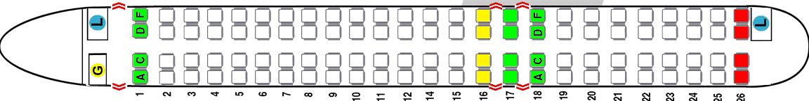 Схема салона самолета Bombardier CRJ 1000