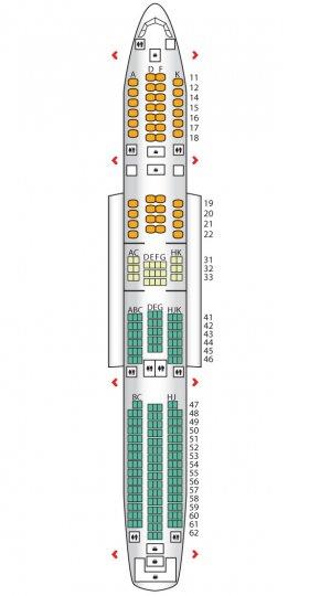 Схема салона А350-900 Сингапурские Авиалинии