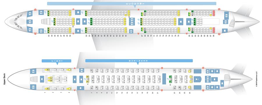 Схема салона на три класса обслуживания А380