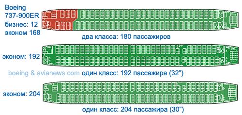Схемы салонов Боинга 737-900