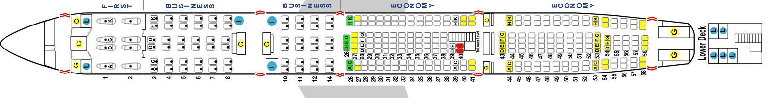 Схема салона самолета А340-600