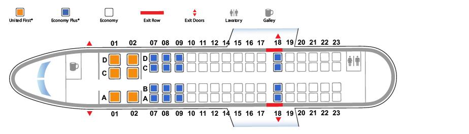 Схема салона CRJ-700 на два класса обслуживания