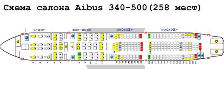Схема салона авиалайнера А340-500