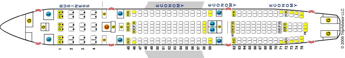 Схема салона Аэробус 340-200