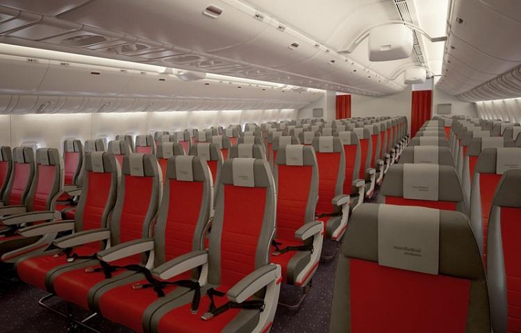 Кресла в салоне самолета Nordwind Airlines