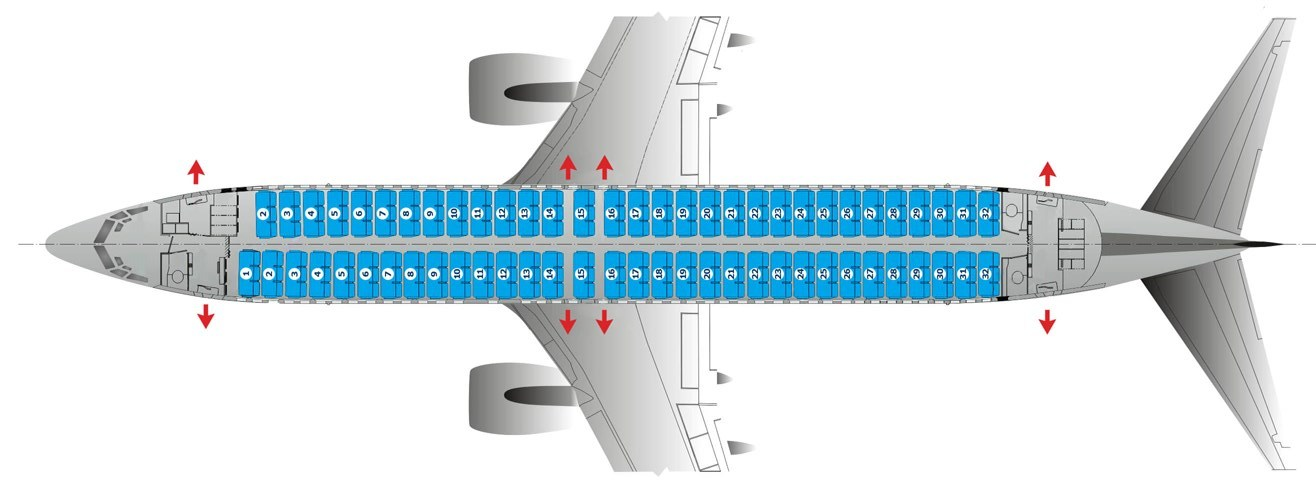 Схема салона Boeing 737-800 авиакомпании Победа