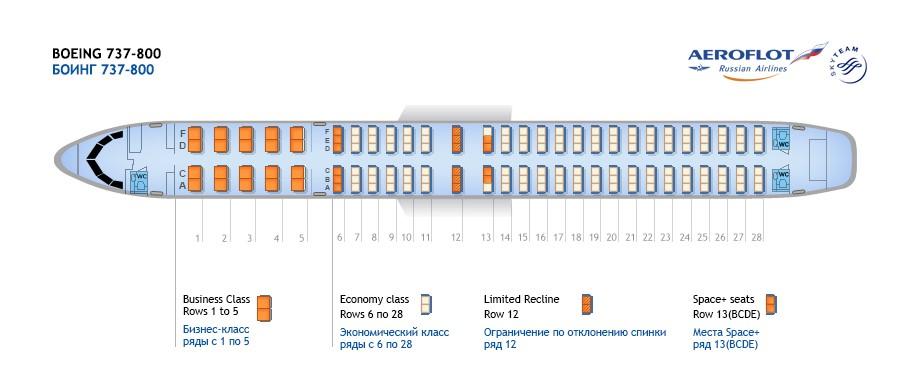 Схема салона В737-800 Аэрофлот