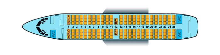 Схема салона В737-300 Белавиа