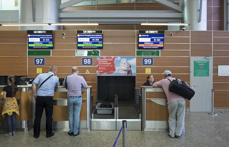 Регистрационная стойка в терминале на рейсы Пегас Флай