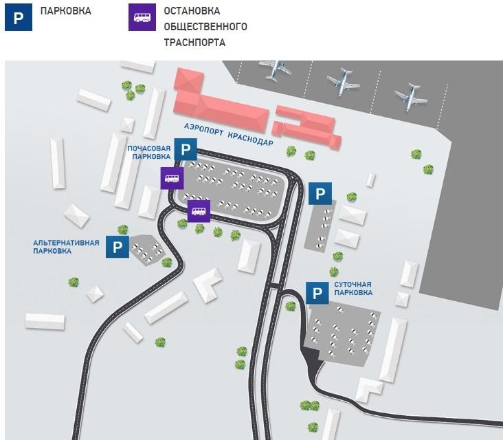 Схема парковок аэропорта Пашковский