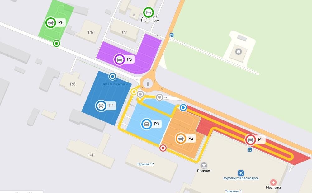 Схема парковок аэропорта Красноярска