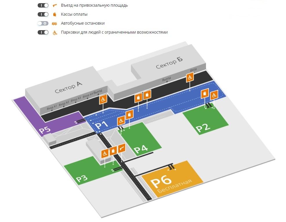 Схема парковок аэропорта Толмачево